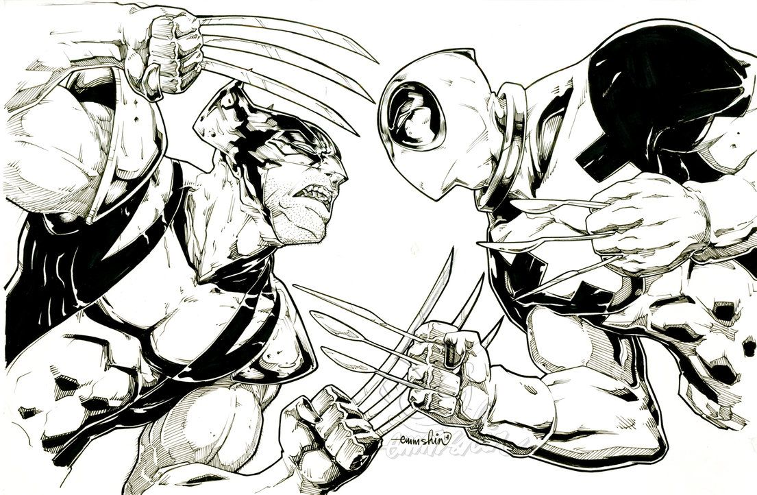 Cool Drawings Of Deadpool Vs WolverineDrawingsPrintable Coloring