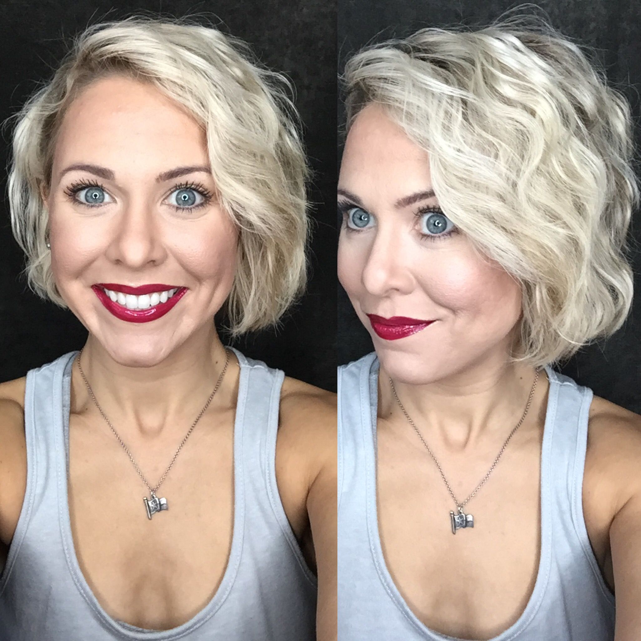 Bed Head Wave Artist on short hair. All SeneGence makeup