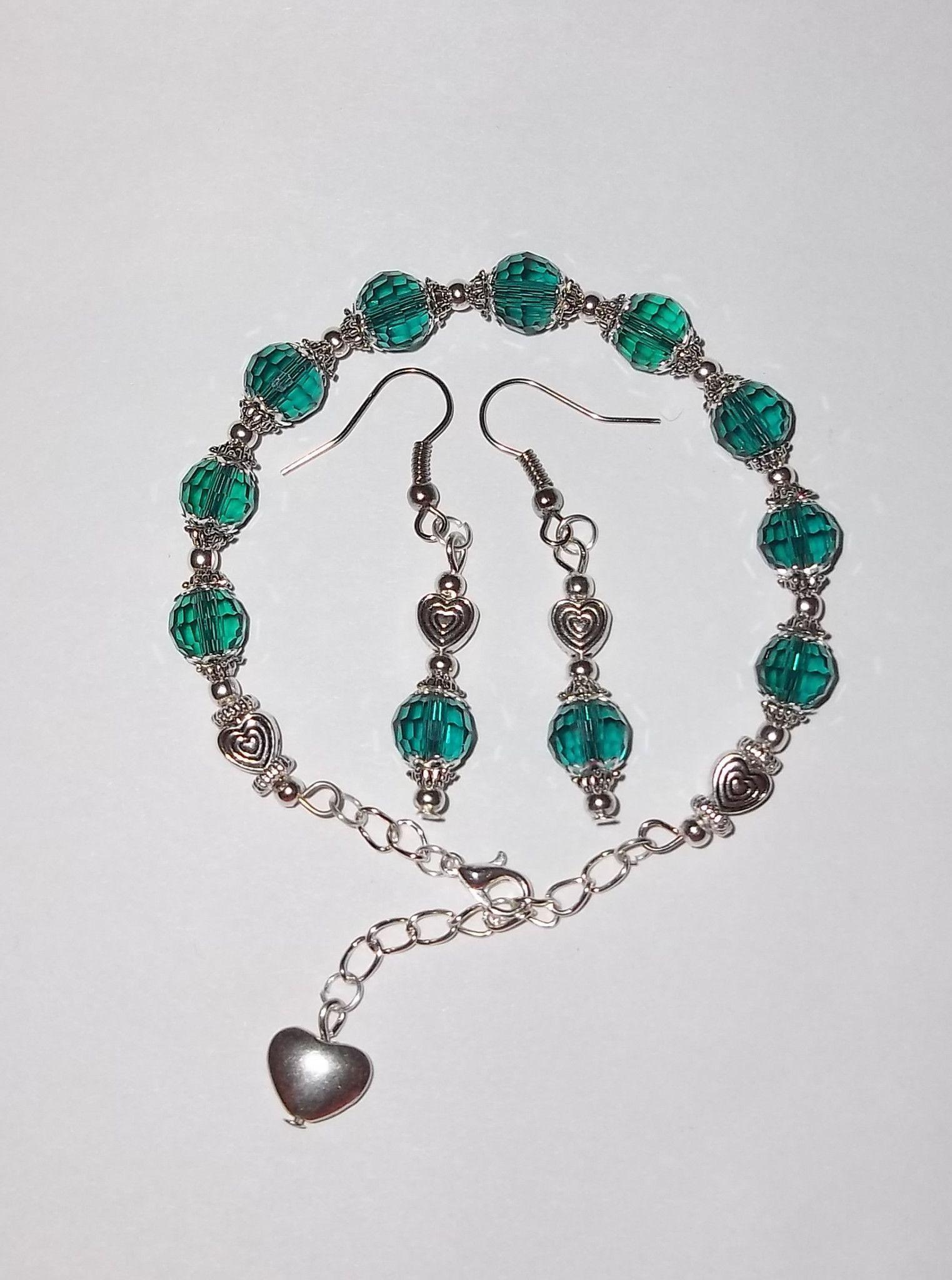 62a131eebd55c2 Peacock Blue Swarovski Crystal   Tibetan Silver Half Bangle   Earring Set