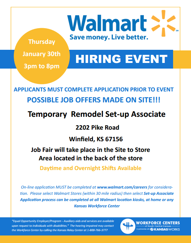 Walmart In Partnership With The Workforce Center And Kansasworks