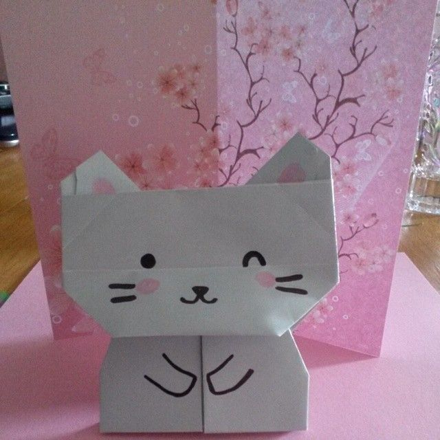 Super easy origami project for little kids. #Cat #Animals ...