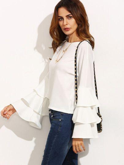 7ec7ce6f83 Blusa escote redondo volantes manga larga - blanco
