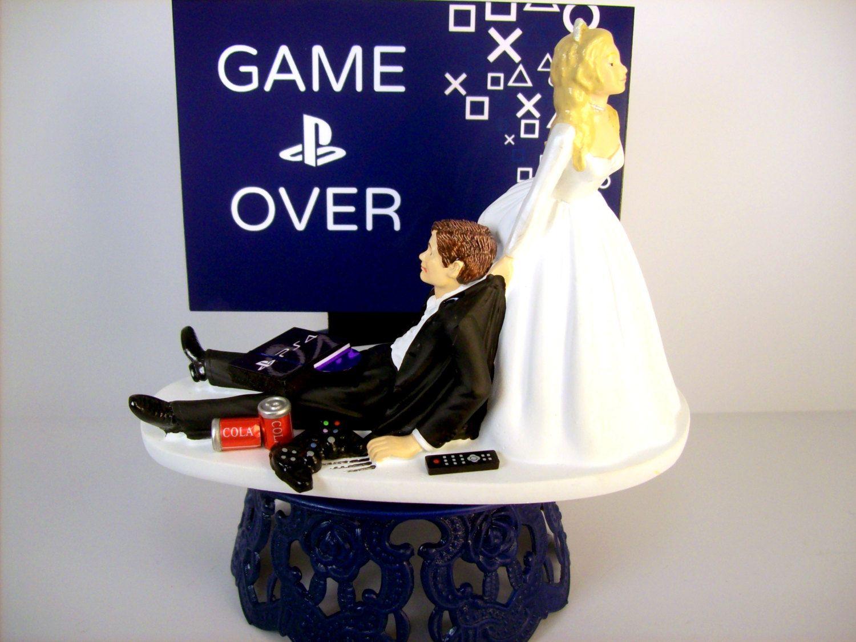 Funny Wedding Cake Topper Custom GAME OVER Video Gamer ...