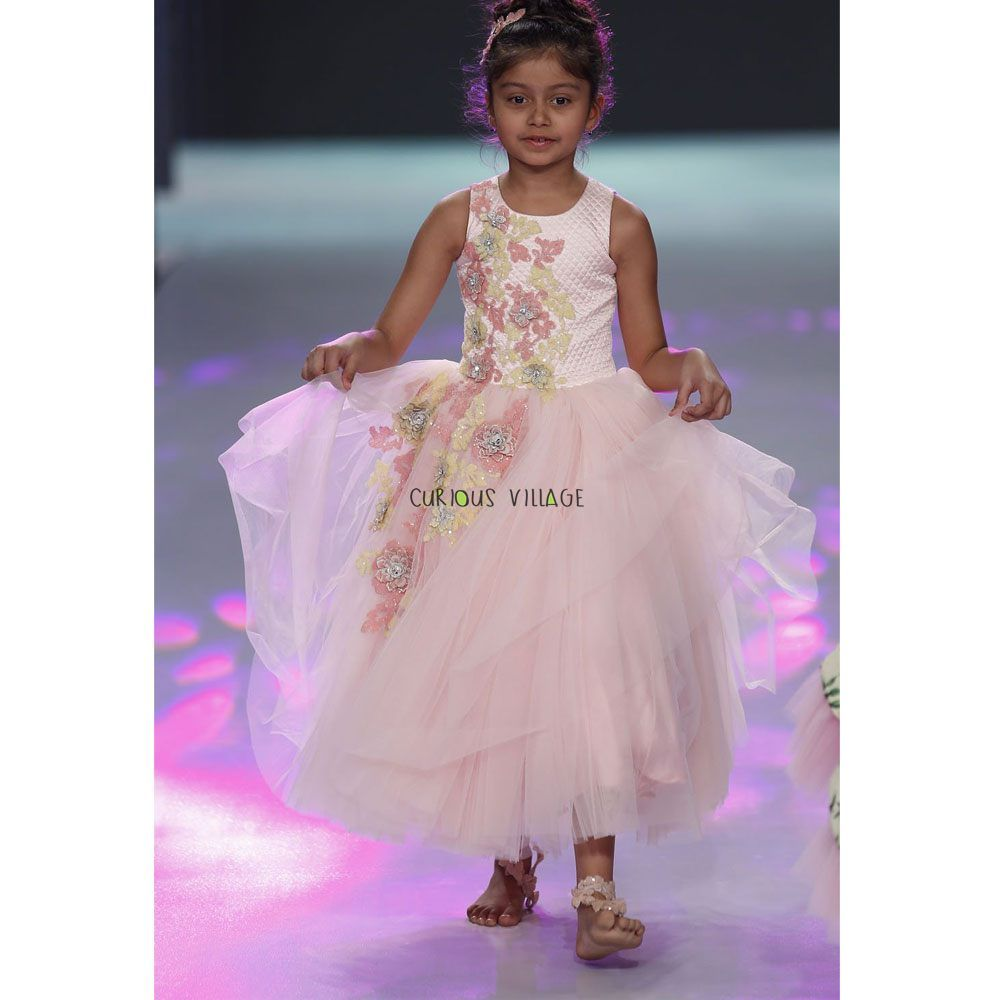 80da8f941 Baby pink gown with quilted yoke and heavy appliqué with stones ...
