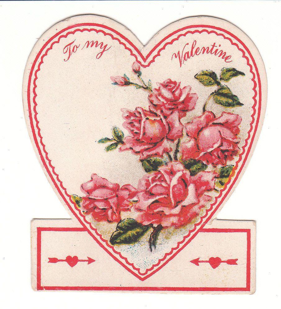 vintage valentine card pink roses heart shaped die cut vintage