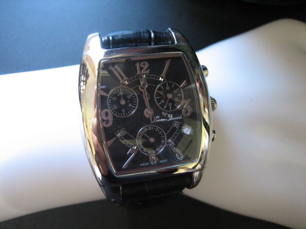 Lucien Piccard 26495bk Chronograph Sapphire Coated Crystal 3atm Watch Lucien Piccard Crystals Watches