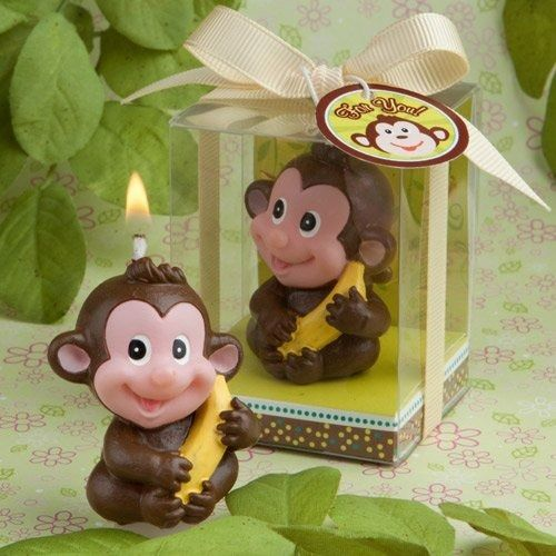 We're not monkeying around when we tell you that this adorable monkey candle favor is a sure fire hit Your guests will go bananas over this little character whose smiling expression shows his delight over snagging a prized banana. So, on a day when smiles about your little boy or girl are sure to fill the room, we think you'll agree that this cute-as-can-be candle will add even more fun. A Fashinocraft-exclusive, this candle favor is definitely hot stuff for your baby-themed occasion. ...