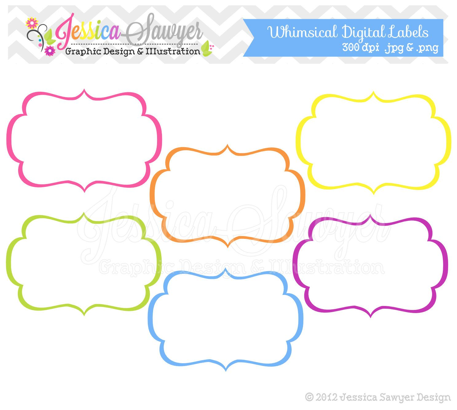 INSTANT DOWNLOAD, whimsical labels - tag clipart ...