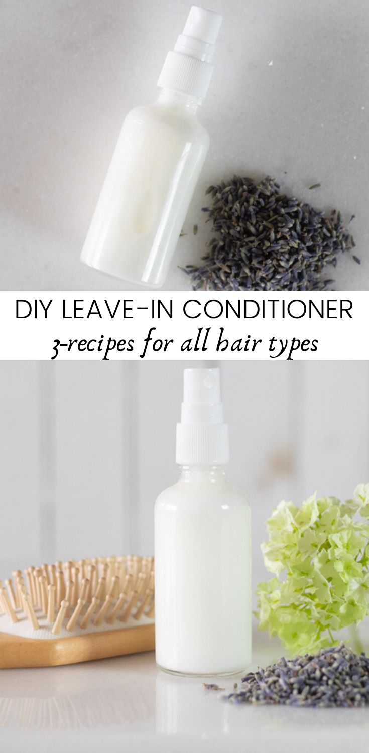 5 moisturizing DIY leave in conditioner recipes for all hair types. Made with essential oils best for hair growth and other all-natural products. #naturalhaircare