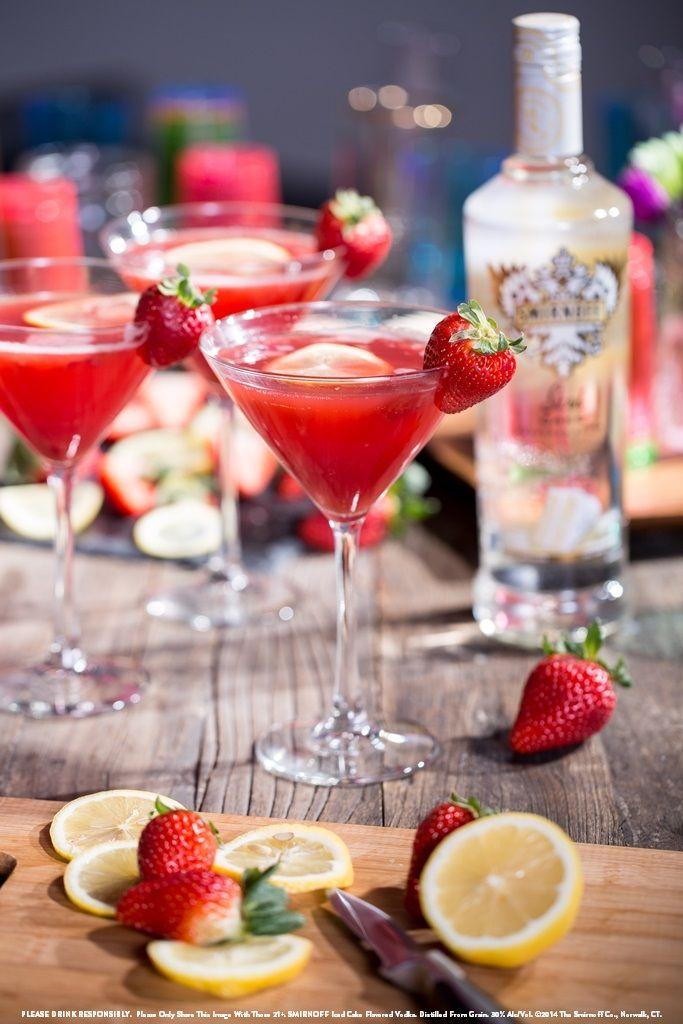 Iced Strawberry Shortcake Martini With 2 Oz Smirnoff