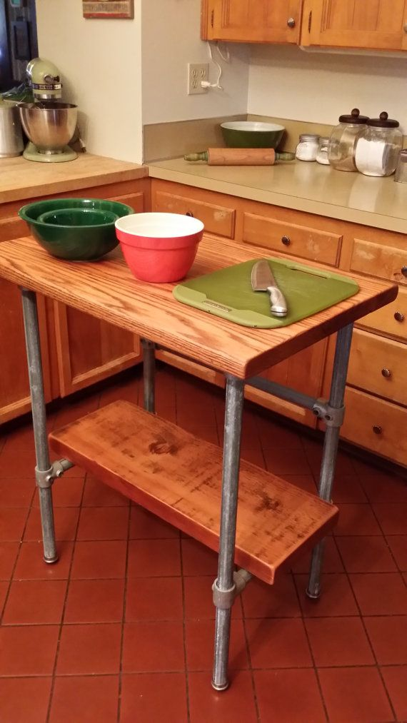 Kitchen Island Industrial Reclaimed Wood made with Kee Klamp and Pipe