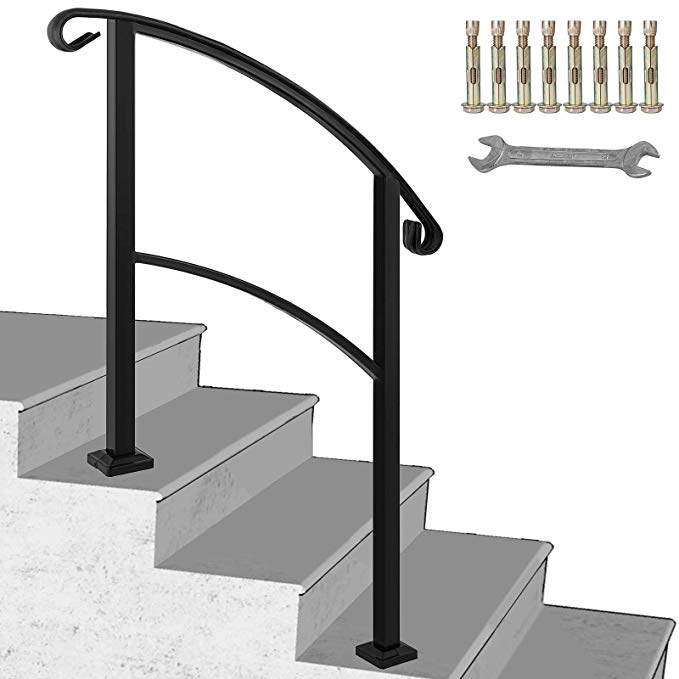 Best Happybuy 3 Step Handrail Fits 1 Or 3 Steps Matte Black 400 x 300