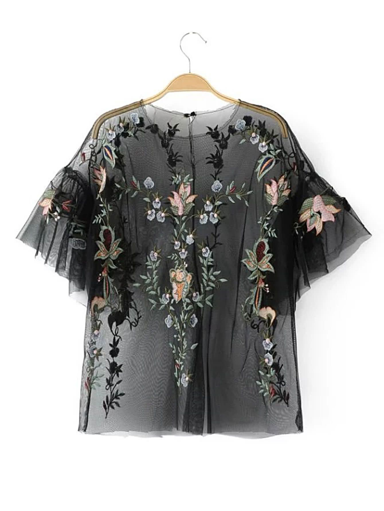 Philosophy Di Alberta Ferretti Semi Transparentes Kleid Mit Blumen Shop Flower Embroidery Sheer Mesh Top Online Shein Offers Flower