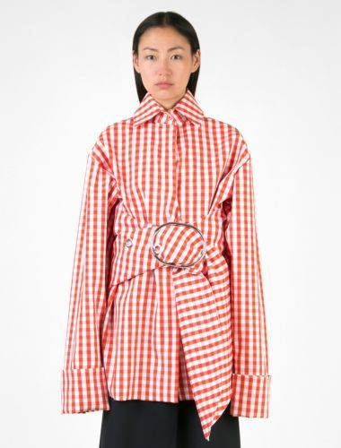 Free Shipping Find Great Marques Almeida Woman Asymmetric Ruched Gingham Seersucker Top Yellow Size M Marques Almeida Official Site Sale Online JaXQpoiV