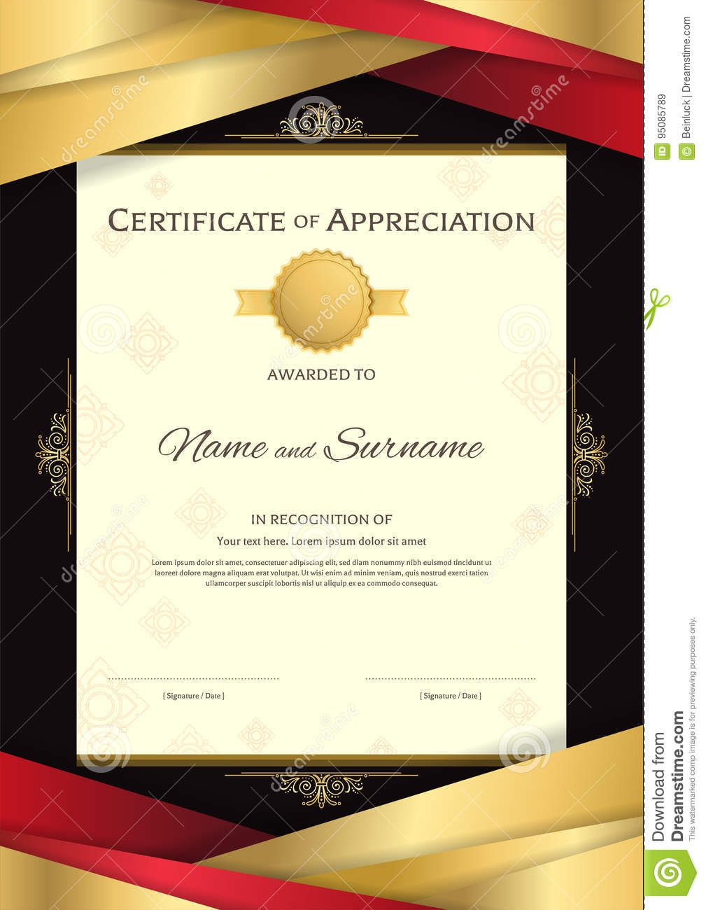Portrait luxury certificate template with elegant golden border portrait luxury certificate template with elegant golden border stock vector image 95085789 xflitez Image collections