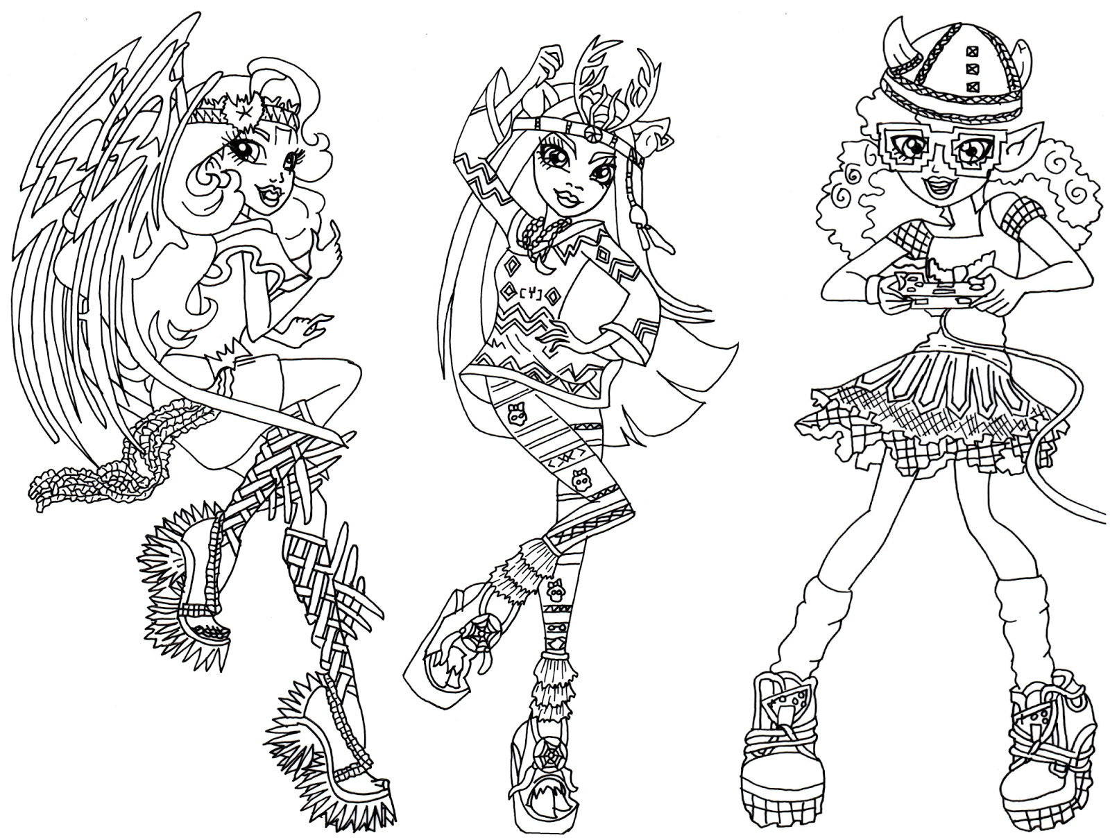 Boo York Brand Boo Students Monster High Coloring Page Png 1 600 1 211 Pixels Monster High Online Drawing Drawing Games