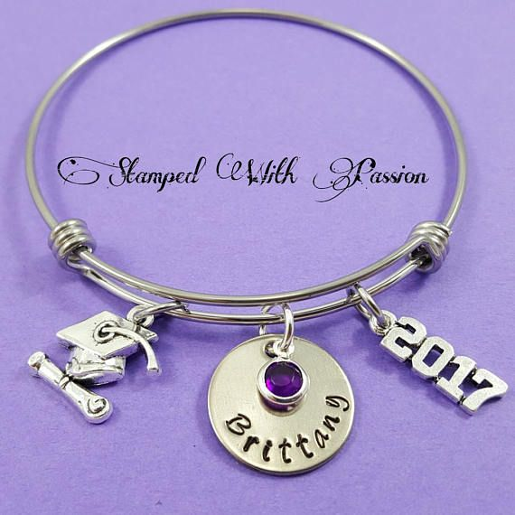 Personalized Graduation Bracelet-2019 Grad Gift-for High School Graduates-Follow your Heart Live Your Dream inspirational jewelry for her