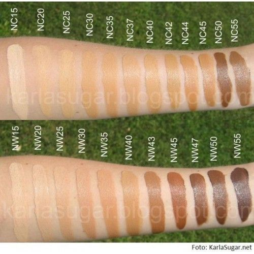 MAC studio fix spf swatches (NC50 and NC55 should be switched