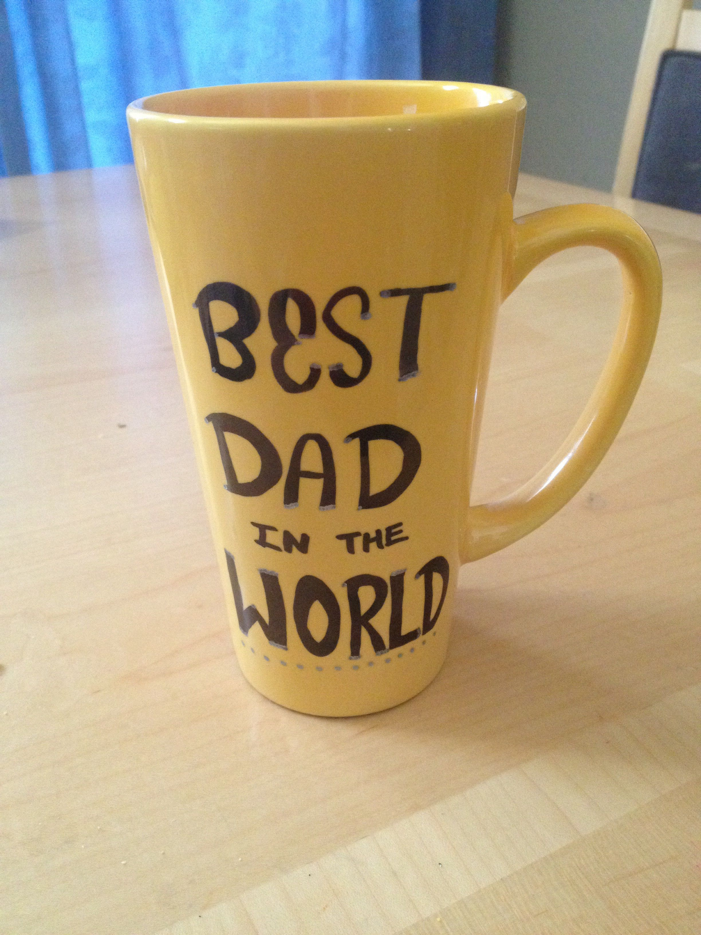 DIY Father's Day mugs with a sharpie.