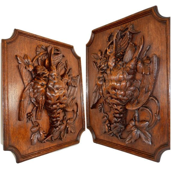 Black forest hand carved wood panel frame hunt themes