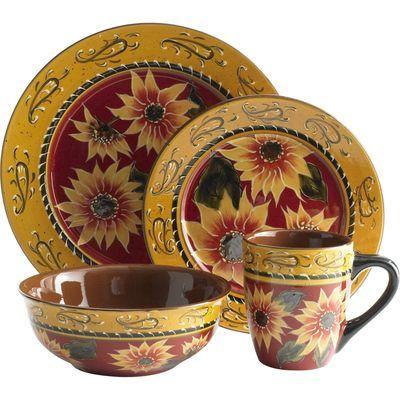 Sunflower Dinnerware - Pier One Imports  sc 1 st  Pinterest & Sunflower Dinnerware - Pier One Imports | Big Girl Home | Pinterest ...