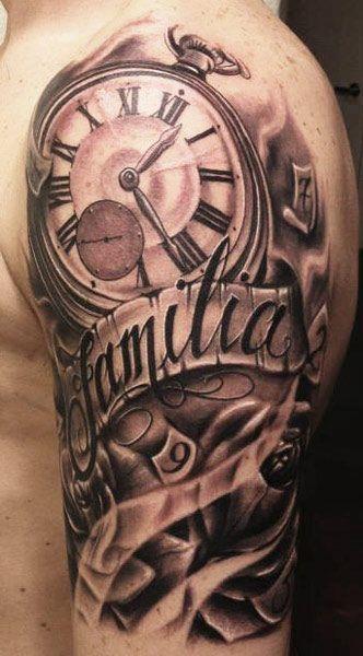 Familia Banner With Biomechanical Clock Tattoo Design Tatuajes