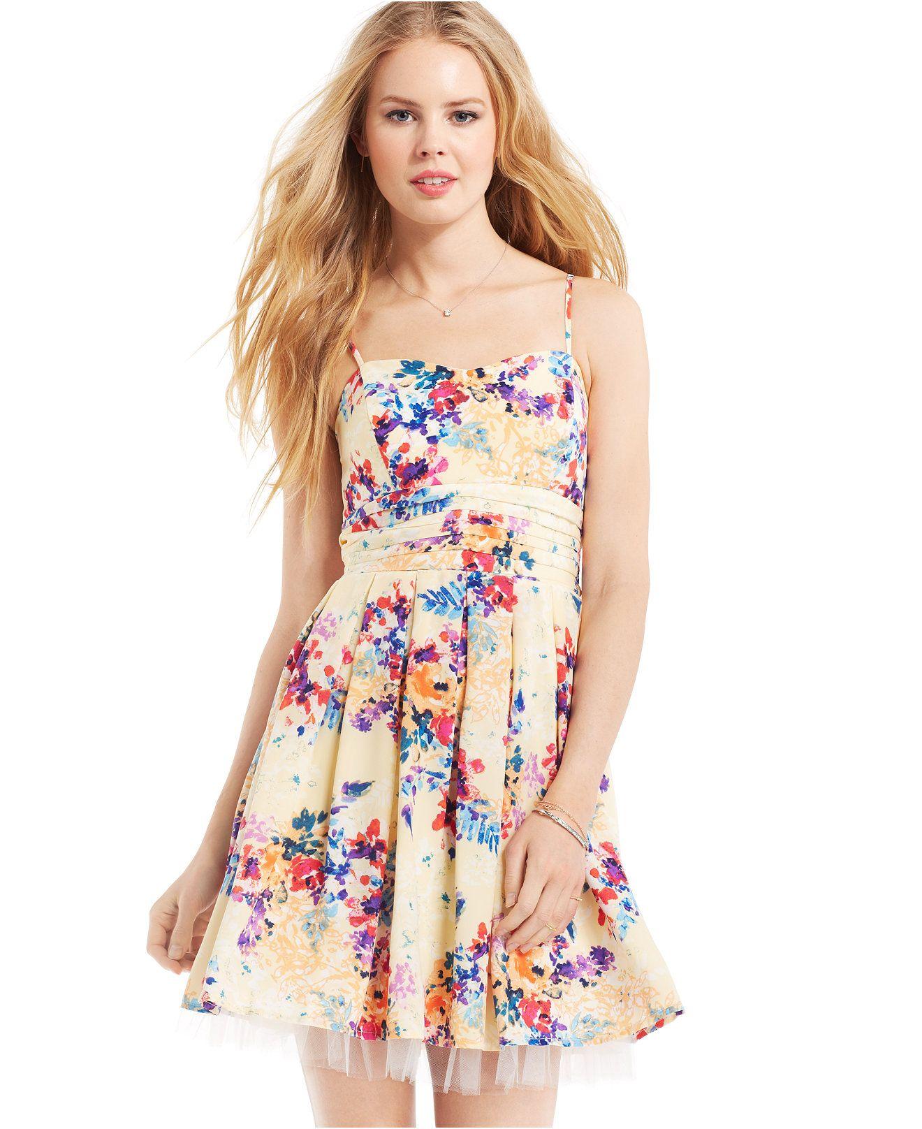 Emerald Sundae Juniors' Floral-Print Tulle-Hem Dress