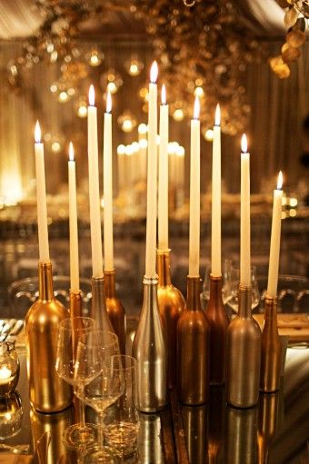 Hand paint silver and gold wine bottle candle holders for Gold wine bottle centerpieces