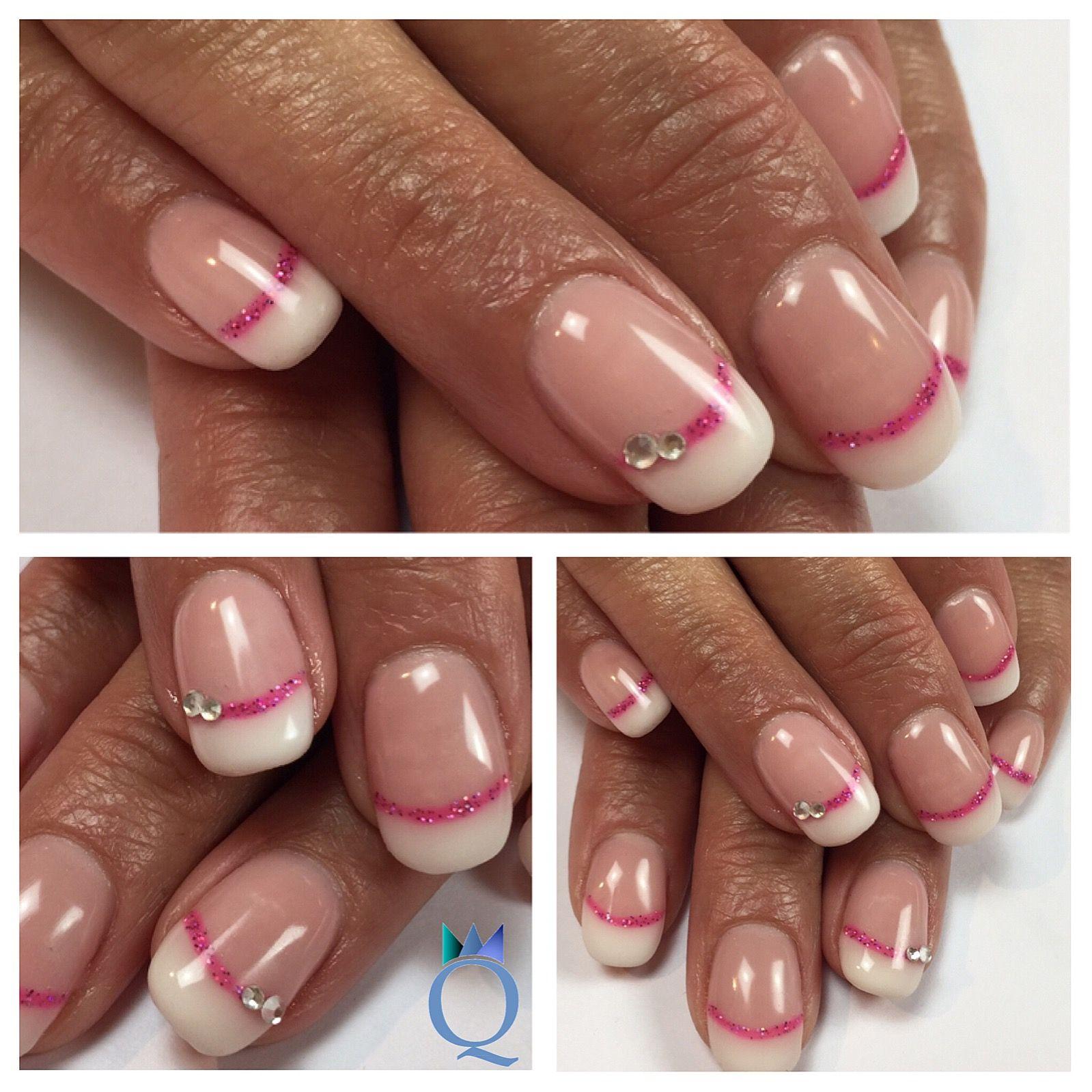shortnails #gelnails #nails #frenchnails #pink #stripes #kurzenägel ...