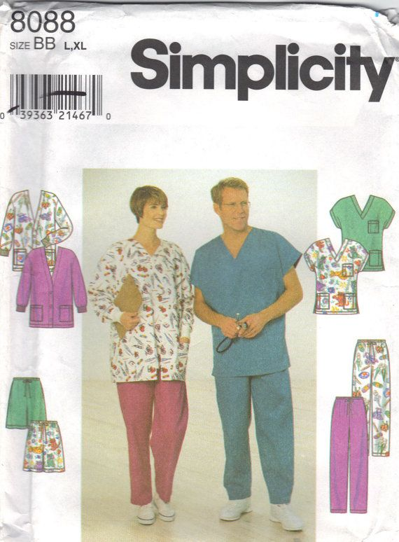 Simplicity 8088 Sewing Pattern Medical Scrubs Jacket Pullover Top ...