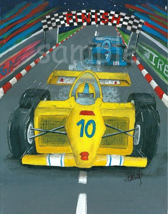 Kids Wall Art Yellow Race Car 8x10 Print by bealoo on Etsy, $15.00 ...