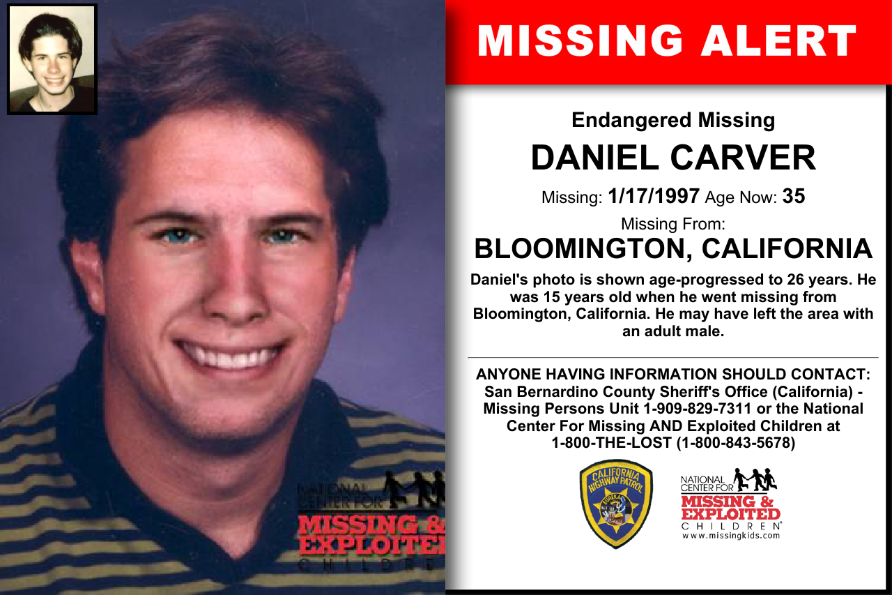 Daniel Carver Age Now 35 Missing 01 17 1997 Missing From Bloomington Ca Anyone Having Information Should Conta Missing Persons Word Find Bring Them Home