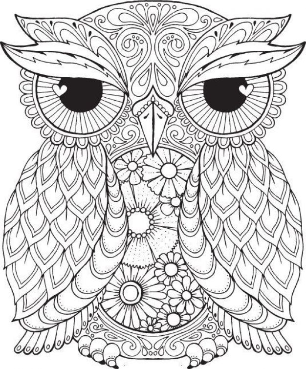 free difficult coloring picture of an owl to print for adults - Difficult Coloring Pages