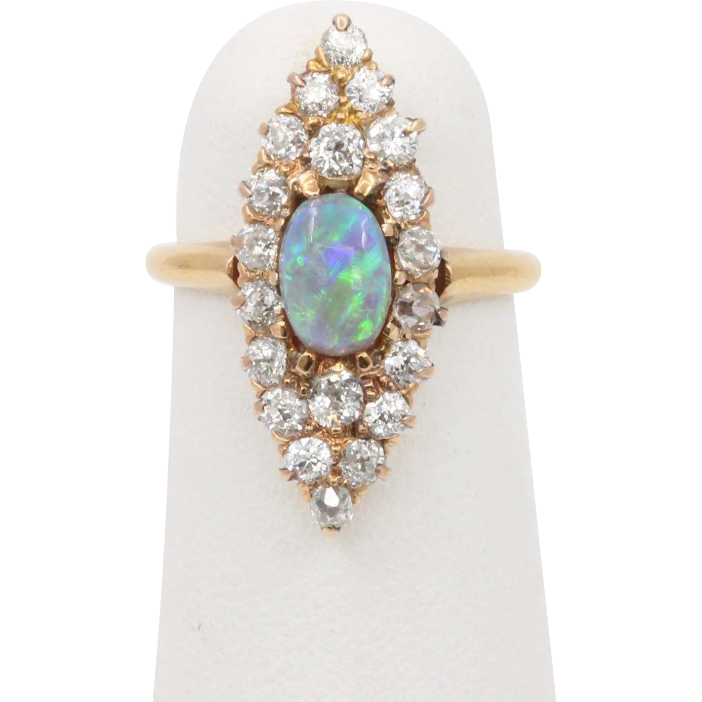 Edwardian Bailey Banks And Biddle Black Opal And Diamond Navette 14k Gold Ring Found At Morganite Engagement Ring Rose Gold Jewelry Diamond Anniversary Rings