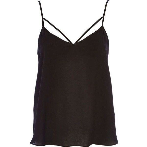 363b758802f River Island Black strappy cami top ($11) found on Polyvore featuring tops,  tank tops, shirts, tanks, blusas, black, sale, loose black shirt, black  singlet ...
