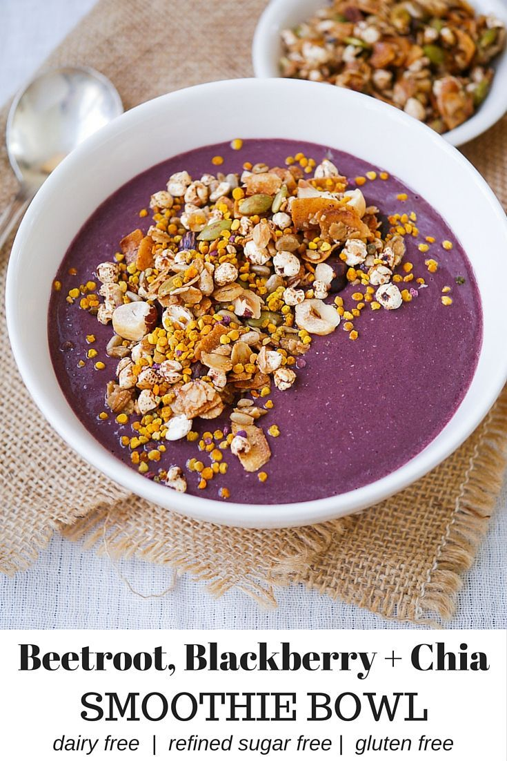 Beetroot Blackberry Chia Smoothie Bowl via nourisheveryday.com - this vibrant healthy recipe is the perfect easy breakfast or satisfying snack! Dairy free, refined sugar free and paleo friendly.