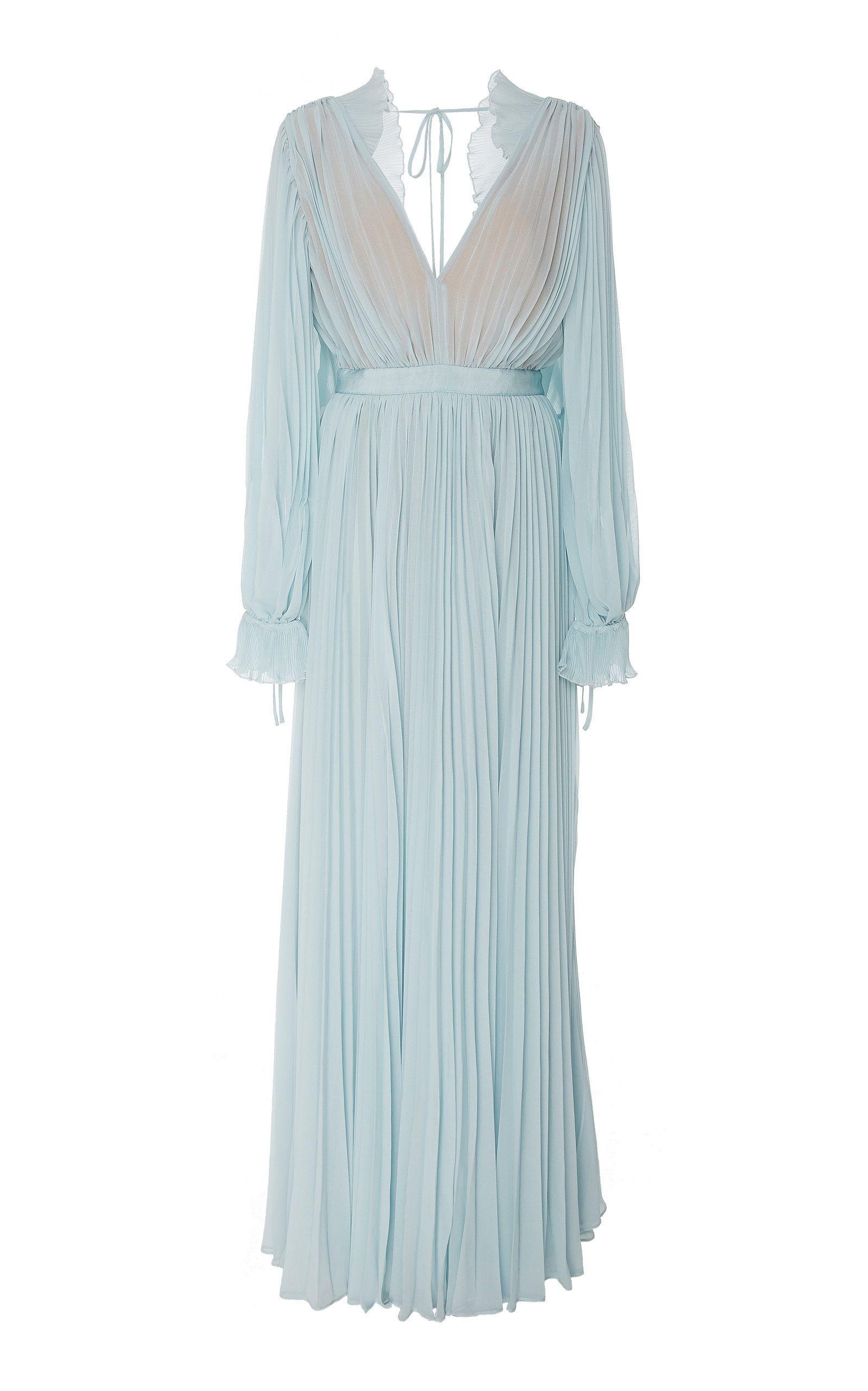 9b4ec04cb9 Pleated Chiffon Maxi Dress by SELF PORTRAIT Now Available on Moda Operandi