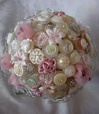 Button ball, sphere, round, flowers, pins, styrofoam, fabric