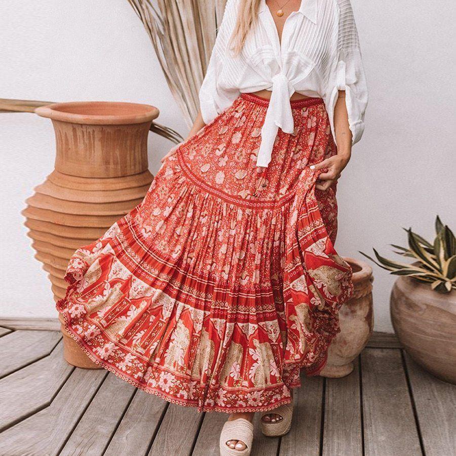 Pin on Bohemian Skirts