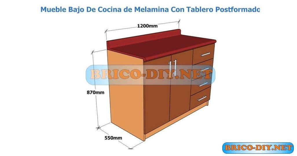 Hagalo usted mismo mueble de cocina melamina plano con for Medidas muebles bajos cocina