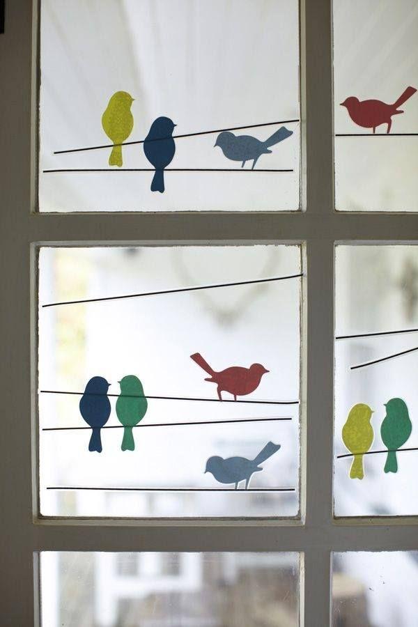 Fensterbild: Vögel auf der Leine Mehr | Vogels | Pinterest | Flower ...