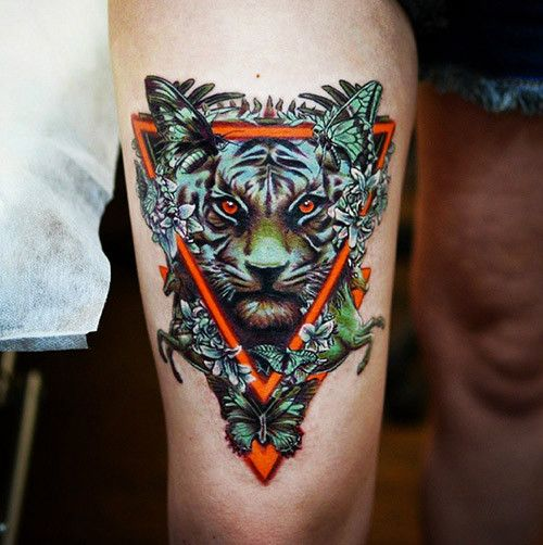 This tiger looks hungry. Tattoo by Caroline Friedmann ...