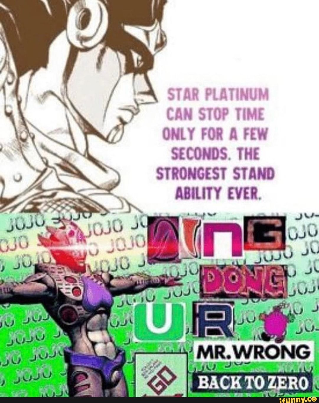 STAR PLATINUM CAN STOP TIME ONLY FOR A FEW SECONDS  THE