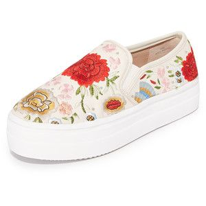ALICE+OLIVIA Woman Embroidered Leather Slip-on Sneakers Cream Size 36 cAawu