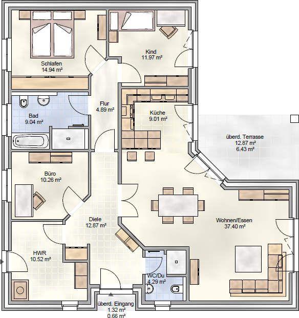 Hauspläne bungalow  Bildergebnis für grundrisse bungalow 140 qm | Living | Pinterest ...