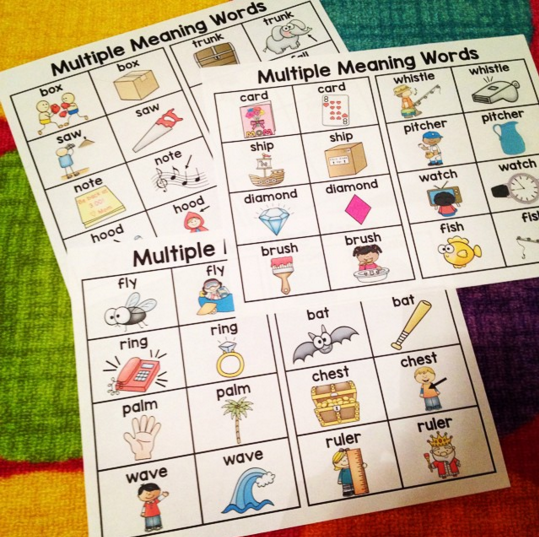 Multiple Meaning Words Charts Homonyms And Homographs