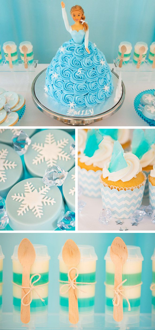 Frozen Themed Birthday Party Elsa birthday cake Jelly shots and