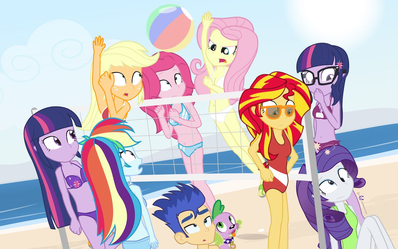 54232ed5a5 #1169076 - applejack, artist:dm29, beach, beach volleyball, bikini,  clothes, dazed, down under summer, equestria girls, flash sentry,  fluttershy, ...