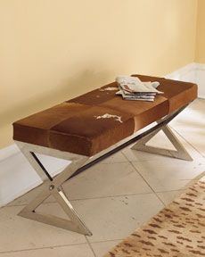 Angus Metal Bench With Cowhide Covered Cushion 1 199 Cowhide Furniture Metal Bench Contemporary Bench
