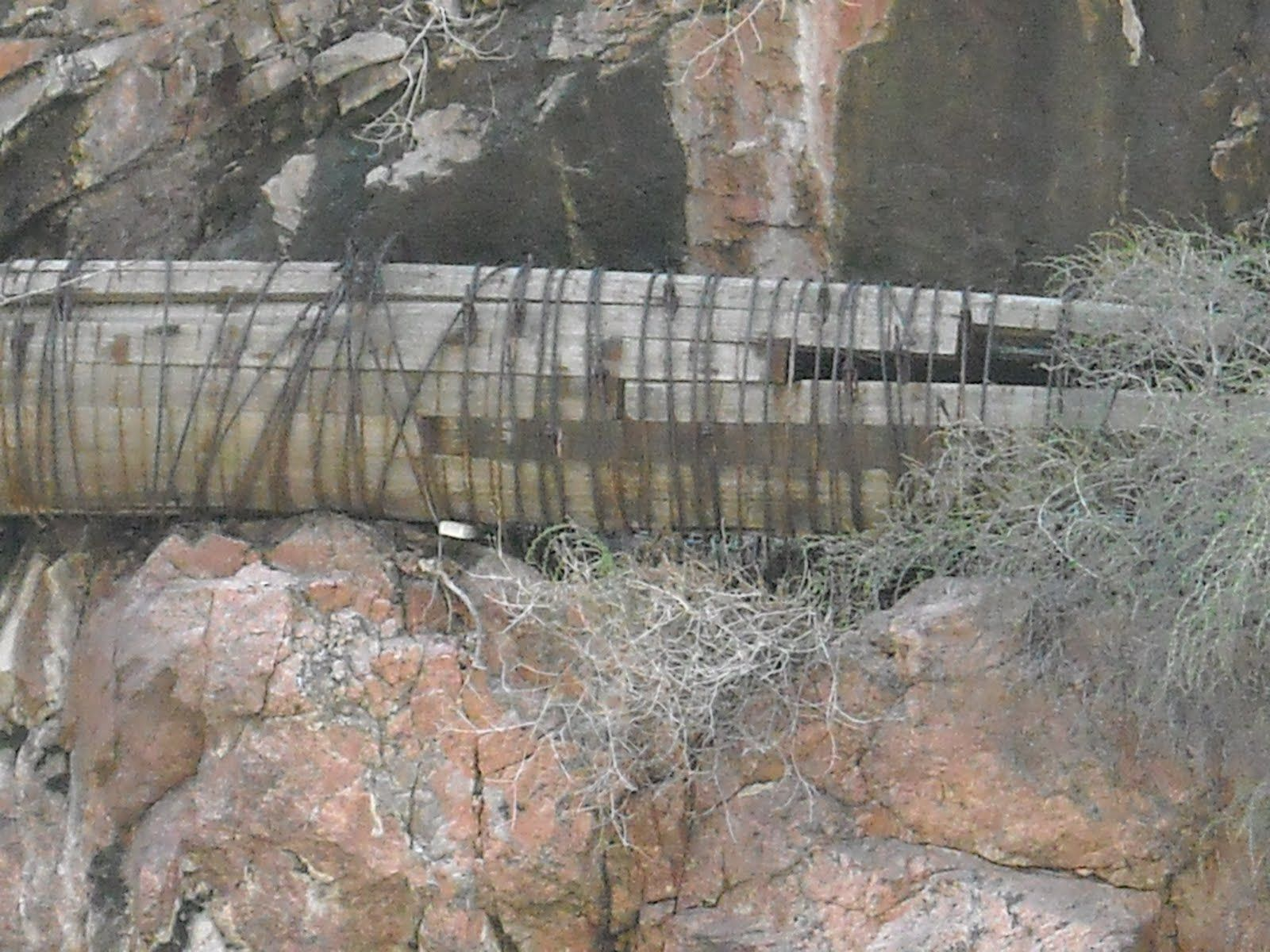 Closeup of old wooden water pipe system - Royal Gorge near Cañon ...